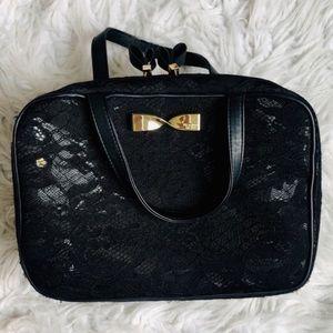 Victoria's Secret black lace makeup bag